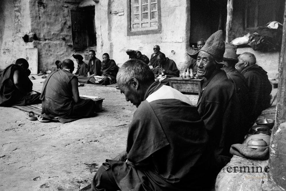 Les moines Bouddhistes  en séance de prières, ici au monastère de Phuktal perdu dans les montagnes au Ladakh, Hymalaya.
