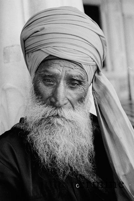 portrait d'un gardien Sikh au golden temple - Amritsar, Penjab.