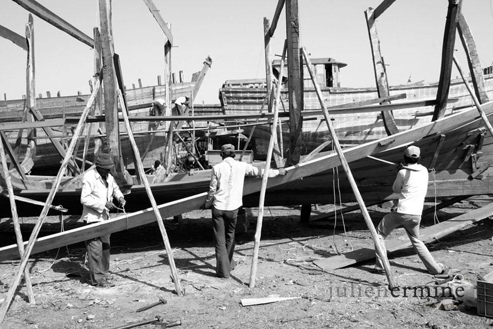 Construction de bateau arabe, Veraval, Inde