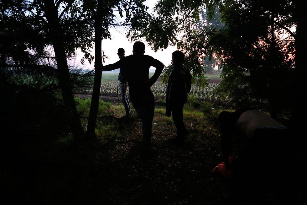 5H30 - Quelques minutes après avoir passé la frontière illégalement, le groupe guette dans un bosquet que la police s'en aille, avant de poursuivre leur fuite en avant. Des passeurs palestiniens sont là pour guider les réfugiés.