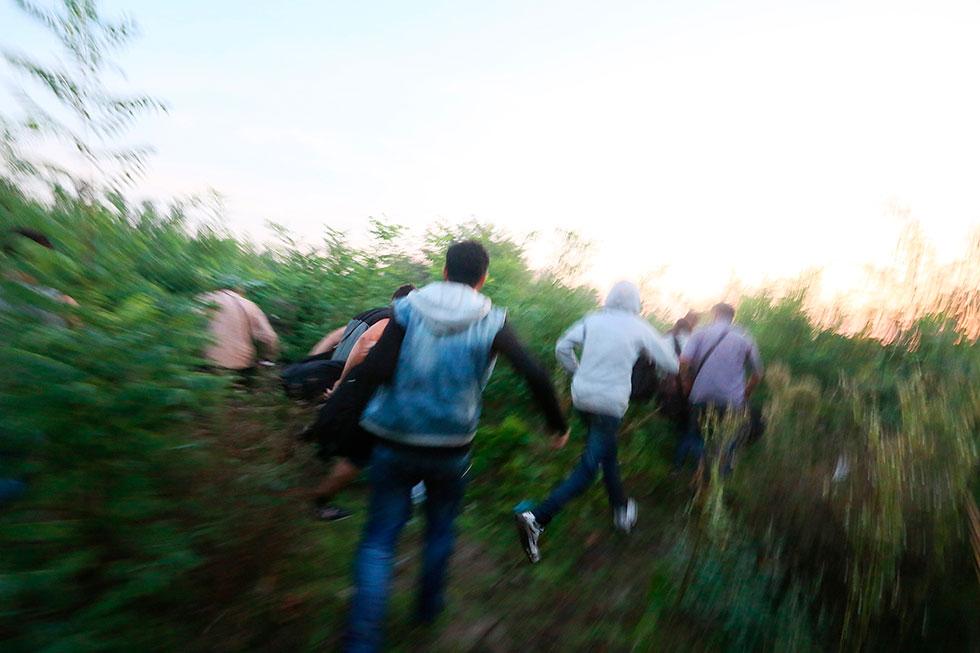 6H07 - Alors que les premiers signes de repis se dessinait, que les refugiés reprennaient leur souffle, La police les a surpris. D'un coup, tout le monde s'est mis à courir dans tout les sens pour echapper aux filets qui se refermaient sur eux.